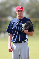 Washington Nationals pitcher Alex Meyer #54 before posing for a photo before an Instructional League game against the national team from Italy at Carl Barger Training Complex on September 28, 2011 in Viera, Florida.  (Mike Janes/Four Seam Images)