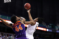 GREENSBORO, NC - MARCH 6: Taylor Soule #13 of Boston College shoots over Kobi Thornton #44 of Clemson University during a game between Clemson and Boston College at Greensboro Coliseum on March 6, 2020 in Greensboro, North Carolina.