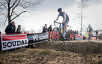 Michael Vanthourenhout (BEL/Marlux-NapoleonGames) jumping the ditch<br /> <br /> men's race<br /> CX Soudal Classics Leuven/Belgium 2017