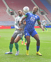 Blackburn Rovers' Ryan Nyambe battles with Wigan Athletic's Jamal Lowe<br /> <br /> Photographer Dave Howarth/CameraSport<br /> <br /> The EFL Sky Bet Championship - Wigan Athletic v Blackburn Rovers - Saturday 27th June 2020 - DW Stadium - Wigan<br /> <br /> World Copyright © 2020 CameraSport. All rights reserved. 43 Linden Ave. Countesthorpe. Leicester. England. LE8 5PG - Tel: +44 (0) 116 277 4147 - admin@camerasport.com - www.camerasport.com