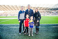 Saturday 29th November 2014<br /> Pictured: Lee Trundle pictured with youth signings <br /> Re: Barclays Premier League Swansea City v Crystal Palace at the Liberty Stadium, Swansea, Wales,UK
