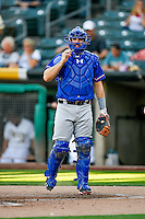 Brett Nicholas (22) of the Round Rock Express during the game against the Salt Lake Bees in Pacific Coast League action at Smith's Ballpark on August 13, 2016 in Salt Lake City, Utah. Round Rock defeated Salt Lake 7-3.  (Stephen Smith/Four Seam Images)