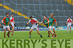 Matt Keane Kilcummin and Darren O'Sullivan Mid Kerry contest the loose ball during their SFC clash in Fitzgerald Stadium on Saturday