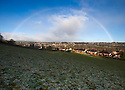 03/02/16 <br /> <br /> A rainbow frames the Derbyshire Dales town of Ashbourne after light snow shows overnight in Derbyshire.  <br /> <br /> All Rights Reserved: F Stop Press Ltd. +44(0)1335 418365   +44 (0)7765 242650 www.fstoppress.com