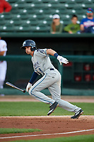 West Michigan Whitecaps center fielder Danny Woodrow (8) follows through on a swing during a game against the Peoria Chiefs on May 8, 2017 at Dozer Park in Peoria, Illinois.  West Michigan defeated Peoria 7-2.  (Mike Janes/Four Seam Images)