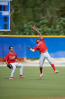 Philadelphia Phillies Arquimedes Gamboa (30) tracks a fly ball during an Instructional League game against the Toronto Blue Jays on October 7, 2017 at the Englebert Complex in Dunedin, Florida.  (Mike Janes/Four Seam Images)