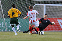 Dufty makes a save from Jamie Watson...AC St Louis were defeated 1-2 by Austin Aztek in their inaugural home game in front of 5,695 fans at Anheuser-Busch Soccer Park, Fenton, Missouri.