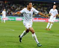 Charlie Davies of USA celebrates scoring the opening goal. USA defeated Egypt 3-0 during the FIFA Confederations Cup at Royal Bafokeng Stadium in Rustenberg, South Africa on June 21, 2009.
