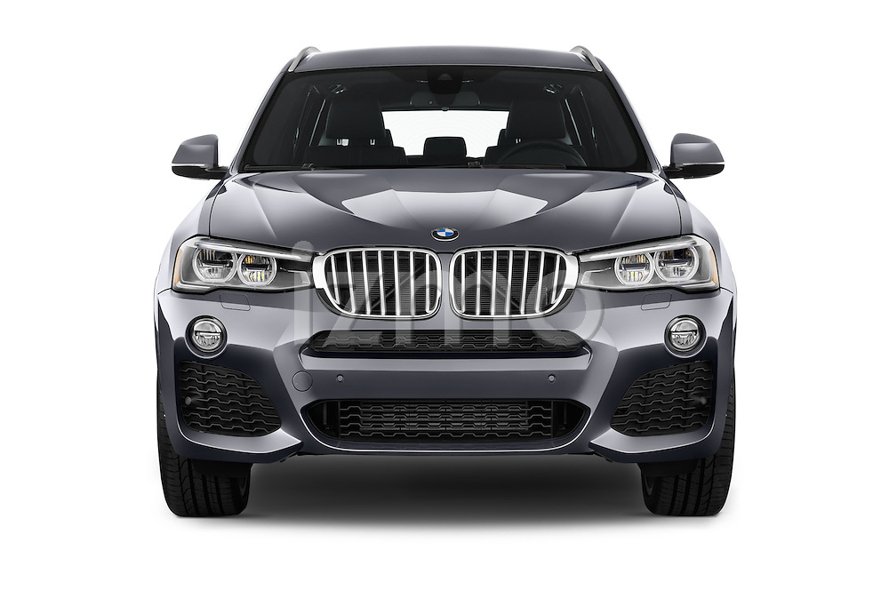 Car photography straight front view of a 2016 BMW X3 xDrive28d 5 Door SUV Front View