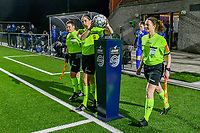 referee Caroline Lanssens taking the matchball before a female soccer game between  Racing Genk Ladies and Eendracht Aalst on the 15 th matchday of the 2020 - 2021 season of Belgian Scooore Womens Super League , friday 5 th of March 2021  in Genk , Belgium . PHOTO SPORTPIX.BE   SPP   STIJN AUDOOREN