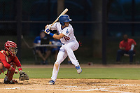 AZL Dodgers second baseman Sam McWilliams (16) at bat during an Arizona League game against the AZL Angels at Camelback Ranch on July 8, 2018 in Glendale, Arizona. The AZL Dodgers defeated the AZL Angels by a score of 5-3. (Zachary Lucy/Four Seam Images)