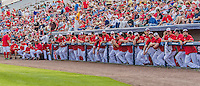 5 March 2015: The Washington Nationals watch pre-game activity from the dugout railing prior to a Spring Training game against the New York Mets at Space Coast Stadium in Viera, Florida. The Nationals rallied to defeat the Mets 5-4 in their Grapefruit League home opening game. Mandatory Credit: Ed Wolfstein Photo *** RAW (NEF) Image File Available ***