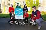 Kerry footballer Gavin White launching the Killarney schools Presents 4 Palliative  a joint fundraiers in aid of the Kerry Hospice foundation in St Brendan's College on THursday with front l-r: Jayden Hurley Killarney Monastery NS, Isabella Dennehy Holy Cross Mercy NS, back: Lizzie Linehan St Francis NS, Tomas Clifford St Brendan's College and Keelan O'Leary Killarney Community College