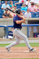 Bryce Harper #34 of the Hagerstown Suns follows through on his swing against the Rome Braves at State Mutual Stadium on May 1, 2011 in Rome, Georgia.   Photo by Brian Westerholt / Four Seam Images