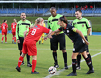 Woluwe's captain Jana Simons (8) gives Essevee's captain Romy Camps (3) an elbow greeting before a female soccer game between FC Femina White Star Woluwe and Dames Zulte Waregem  on the first matchday of the 2020 - 2021 season of Belgian Women's SuperLeague , Friday 28 of August 2020  in Sint Lambrechts Woluwe , Belgium . PHOTO SPORTPIX.BE | SPP | SEVIL OKTEM