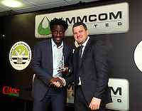 Wednesday 08 May 2014<br /> Pictured: Wilfried Bony receiving one of his four awards.<br /> Re: Wilfried Bony stole the show at Swansea City's annual awards dinner on Wednesday night. <br /> The club-record signing picked up four of the main awards on offer at the official Player of the Season function, run in conjunction with the Supporters Trust and Executive Fundraising Committee. <br /> Bony was crowned Supporters' Player of the Year following a season in which he lived up to expectations since his £12million move from Dutch side Vitesse Arnhem last July. <br /> The 25-year-old, who is set to represent the Ivory Coast at the World Cup this summer, was also named Players Player of the Year along with Best Newcomer of the Year. <br /> And his 24 goals – 15 in the league – meant he landed the Top Goalscorer accolade to top off a hugely successful season at the Liberty.