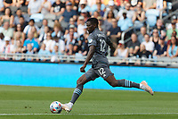 SAINT PAUL, MN - JULY 3: Bakaye Dibassy #12 of Minnesota United FC during a game between San Jose Earthquakes and Minnesota United FC at Allianz Field on July 3, 2021 in Saint Paul, Minnesota.