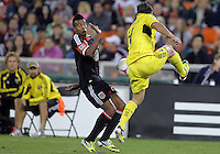 WASHINGTON, DC - OCTOBER 20, 2012:  Lionard Pajoy (26) of D.C United reacts to clearance by Carlos Mendes (4) of the Columbus Crew during an MLS match at RFK Stadium in Washington D.C. on October 20. D.C United won 3-2.