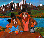 """EXAMPLE Acrylic on Canvas11x14 <br /> """"Brokeback Mountain""""<br /> 2 Dogs drinking """"Jack Spaniel"""""""