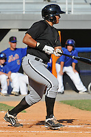 Bristol White Sox designated hitter Sammy Ayala #18 swings at  a pitch during a game against the Kingsport Mets at Hunter Wright Stadium on July 28, 2012 in Kingsport, Tennessee. The Mets defeated the White Sox 9-5. (Tony Farlow/Four Seam Images).