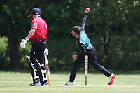W Shafique in bowling action for Harold Wood during Hornchurch CC vs Harold Wood CC, Hamro Foundation Essex League Cricket at Harrow Lodge Park on 5th June 2021