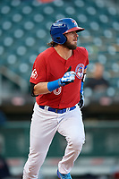 Buffalo Bisons designated hitter Jarrod Saltalamacchia (40) runs to first base during a game against the Syracuse Chiefs on May 18, 2017 at Coca-Cola Field in Buffalo, New York.  Buffalo defeated Syracuse 4-3.  (Mike Janes/Four Seam Images)