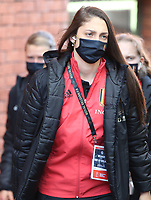 Amber Tysiak (4) of Belgium pictured entering the stadium before   a friendly female soccer game between the national teams of Belgium , called the Red Flames and The Republic of Ireland , on sunday 11 th of April 2021  in Brussels , Belgium . PHOTO: SEVIL OKTEM | SPORTPIX.BE | SPP