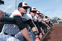 Oregon State Beavers during a game against the New Mexico Lobos on February 15, 2019 at Surprise Stadium in Surprise, Arizona. Oregon State defeated New Mexico 6-5. (Zachary Lucy/Four Seam Images)