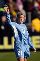 North Carolina Tar Heels midfielder Allie Long (21) during player introductions. The North Carolina Tar Heels defeated the Notre Dame Fighting Irish 2-1 during the finals of the NCAA Women's College Cup at Wakemed Soccer Park in Cary, NC, on December 7, 2008. Photo by Howard C. Smith/isiphotos.com