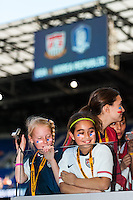 United States (USA) fans await the players coming out onto the field. The women's national team of the United States defeated the Korea Republic 5-0 during an international friendly at Red Bull Arena in Harrison, NJ, on June 20, 2013.