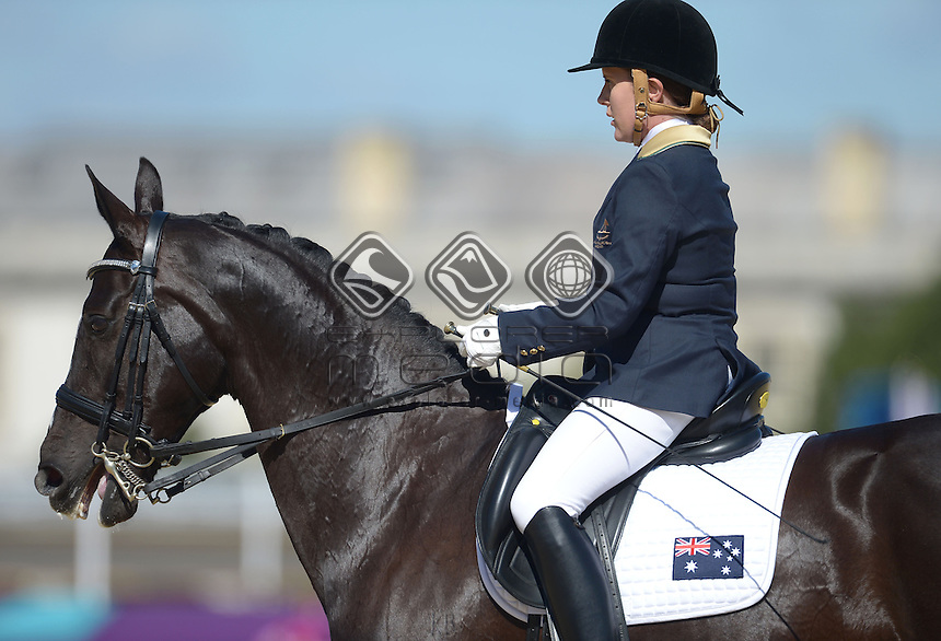 Hannah Dodd (AUS) competes with her horse Waikiwi in the Dressage Individual, Team Test - Grade IV<br /> Equestrian (Friday 31st Aug) - Greenwich Park<br /> Paralympics - Summer / London 2012 <br /> London, England 29 Aug - 9 Sept<br /> © Sport the library/Courtney Crow