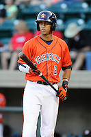 Third baseman Luis Reynoso (2) of the Greeneville Astros bats in a game against the Bristol Pirates on Friday, July 25, 2014, at Pioneer Park in Greeneville, Tennessee. Greeneville won, 9-4. (Tom Priddy/Four Seam Images)