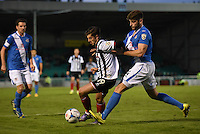 Alex Jones of Grimsby Town takes on Ben Strevens of Eastleigh during the Vanarama National League match between Eastleigh and Grimsby Town at The Silverlake Stadium, Eastleigh, Hampshire on Nov 21, 2015. (Photo: Paul Paxford/PRiME)