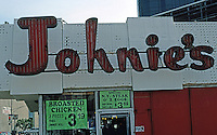 Googies: Johnie's Coffee Shop--Sign. Fairfax & Wilshire, Los Angeles, 1950's.
