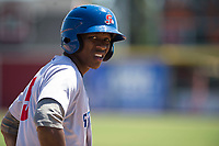 Stockton Ports left fielder Dairon Blanco (5) catches his breath after a sixth-inning triple during a California League game against the Visalia Rawhide at Visalia Recreation Ballpark on May 9, 2018 in Visalia, California. Stockton defeated Visalia 4-2. (Zachary Lucy/Four Seam Images)
