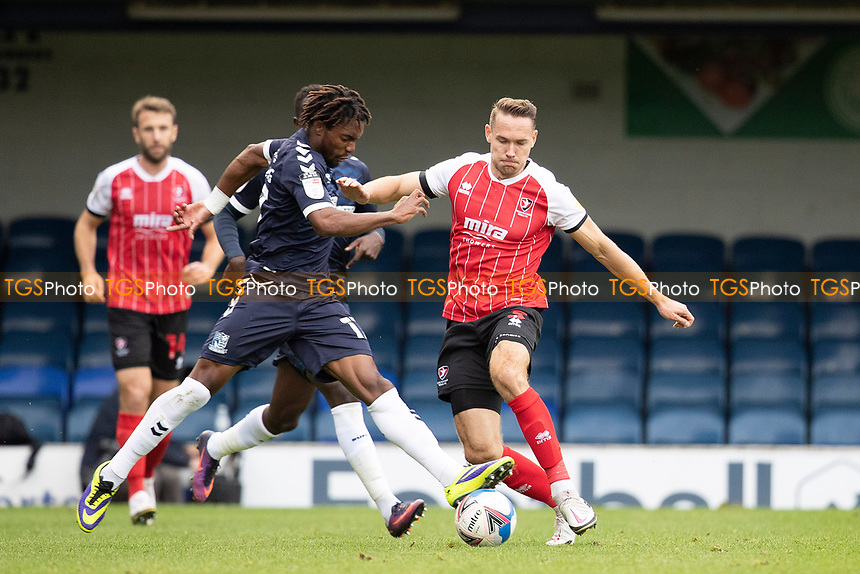 Kasaiah Sterling, Southend United intercepts Chris Hussey, Cheltenham Town during Southend United vs Cheltenham Town, Sky Bet EFL League 2 Football at Roots Hall on 17th October 2020