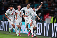LONDON, ENGLAND - JULY 06: Alvaro Morata of Spain celebrates with teammates Gerard Moreno and Rodri after scoring their side's first goal  during the UEFA Euro 2020 Championship Semi-final match between Italy and Spain at Wembley Stadium on July 06, 2021 in London, England. (Photo by Alex Morton - UEFA/UEFA via Getty Images)<br /> Photo Uefa/Insidefoto ITA ONLY