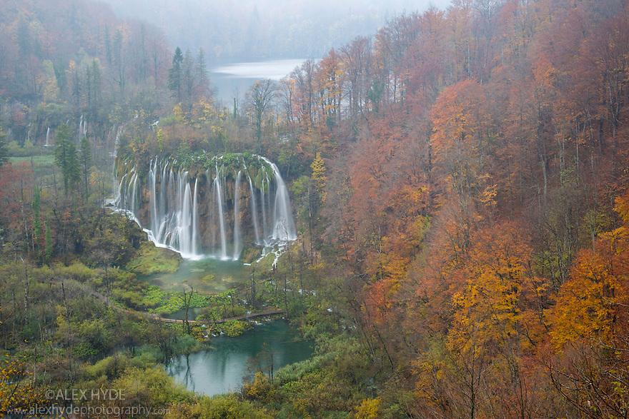 Veliki Prstavci waterfalls, Upper Lakes, Plitvice Lakes National Park, Croatia. November.