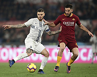 Football, Serie A: AS Roma - InterMilan, Olympic stadium, Rome, December 02, 2018. <br /> Inter's captain Mauro Icardi (l) in action with Roma's Kostas Manolas (l) during the Italian Serie A football match between Roma and Inter at Rome's Olympic stadium, on December 02, 2018.<br /> UPDATE IMAGES PRESS/Isabella Bonotto