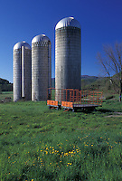 silos, Vermont, VT, Three silos on a farm in Pawlet in the spring.