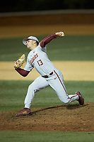 Florida State Seminoles relief pitcher Jonah Scolaro (13) in action against the Wake Forest Demon Deacons at David F. Couch Ballpark on March 9, 2018 in  Winston-Salem, North Carolina.  The Seminoles defeated the Demon Deacons 7-3.  (Brian Westerholt/Four Seam Images)