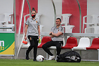 Belgian headcoach Ives Serneels and assistant coach Audrey Demoustier pictured during a friendly female soccer game between the national teams of Luxemburg and Belgium , called the Red Flames  in a preparation towards the qualification for the  FIFA Women's World Cup , on saturday 12 th of June 2021  in Wiltz , Luxemburg . PHOTO SPORTPIX BE   SPP   SEVIL OKTEM