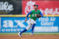Lexington Legends second baseman Jecksson Flores (1) tracks a fly ball during the game against the Hickory Crawdads at L.P. Frans Stadium on April 29, 2016 in Hickory, North Carolina.  The Crawdads defeated the Legends 6-2.  (Brian Westerholt/Four Seam Images)