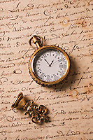 Watch on old letter with brass seal