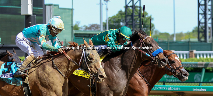May 1, 2021 : Flagstaff, #4, ridden by jockey Luis Saez, wins the Churchill Downs on Kentucky Derby Day at Churchill Downs on May 1, 2021 in Louisville, Kentucky. Candice Chavez/Eclipse Sportswire/CSM