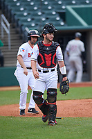 Lansing Lugnuts catcher Ryan Gold (22) during a Midwest League game against the Wisconsin Timber Rattlers at Cooley Law School Stadium on May 1, 2019 in Lansing, Michigan. Wisconsin defeated Lansing 8-3 after the game was suspended from the previous night. (Zachary Lucy/Four Seam Images)