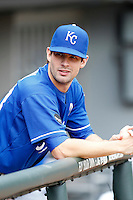 Kansas City Royals pitcher Aaron Crow #43 during a game against the Chicago White Sox at U.S. Cellular Field on August 14, 2011 in Chicago, Illinois.  Chicago defeated Kansas City 6-2.  (Mike Janes/Four Seam Images)
