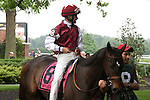 Skylighter and Mike Smith,  before the Obeah Stakes at Delaware Park in New Stanton, Delaware