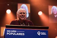 Manon Masse lors de La soiree electorale de Quebec Solidaire, le 1er octobre 2018<br /> <br /> PHOTO : Agence Quebec Presse<br /> - Philippe Manh Nguyen