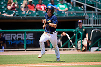Montgomery Biscuits second baseman Brandon Lowe (6) runs home during a game against the Biloxi Shuckers on May 8, 2018 at Montgomery Riverwalk Stadium in Montgomery, Alabama.  Montgomery defeated Biloxi 10-5.  (Mike Janes/Four Seam Images)